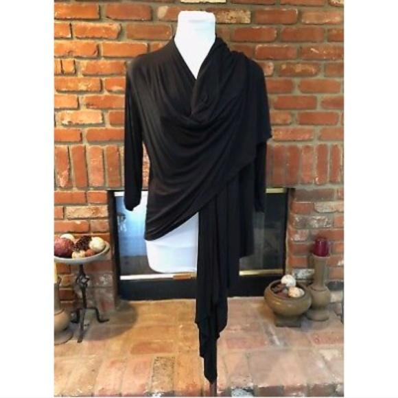 Black Open High Low Draping Thin Jacket XS